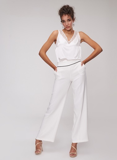 People By Fabrika Dantelli Saten Bluz Beyaz